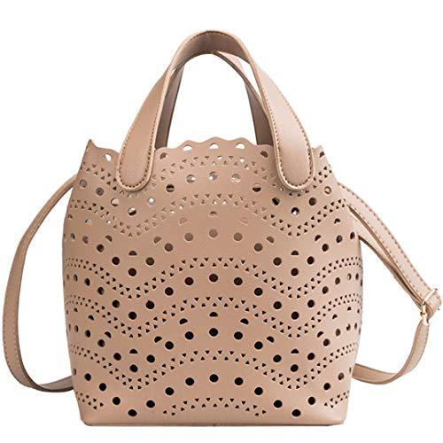Dot Hollow Out Tote Lady Composite Bag H bag Messenger Shoulder Bag Beach Bag Champagne