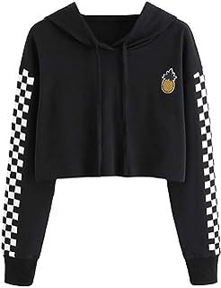 eb0b1445229 Women's Cute Crop Top Teen Girls Cropped Hoodie Pineapple Print Sweater  Jacket Sweatshirt Jumper Pullover Tops