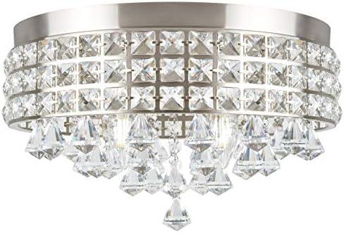 Kira Home Gemma 15″ Modern Chic 4-Light Crystal Flush Mount Chandelier Round Metal Shade