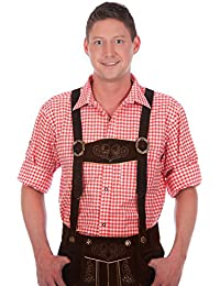 Authentic bavarian Trachten Shirt gingham checkered white red for leather trousers
