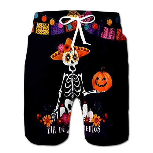 Halloween Dia De Los Muertos Mexican Day of The Dead Invitation Skeleton with Sombrero Drawstring Shorts Beach Baskestball Pants M]()