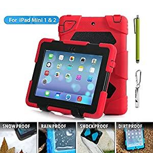 ipad mini case Aceguarder Silicone Plastic **** Kidproof Extreme Duty Dual Protective Back Cover Case with Kickstand for Apple Ipad Mini & Ipad Mini with Retina Display - (Gifts Outdoor Carabiner + Whistle + Handwritten Touch Pen) Rainproof Sandproof Dust