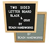 "REVERSIBLE BLACK & GRAY Felt Letter Board 12x12"", Oak Wood Frame, Vintage Sign Message Board, Two Sided, 300 x ¾"" White Letters & Symbols & Bag, with Wall Mount Hooks (12X12 INCH)"