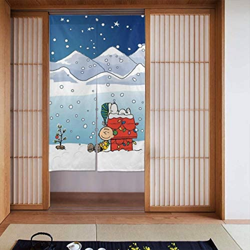 スヌーピー 網戸 玄関 86 X 143cm 玄関カーテン 取付簡単 ドア/ベランダ/玄関/勝手口