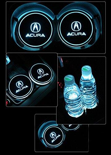 JSAMZ Car Logo LED Cup Pad led Cup Coaster USB Charging Mat Luminescent Cup Pad LED Mat Interior Atmosphere Lamp Decoration Light (Acura)