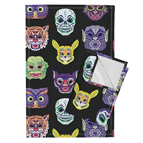 Scary Masks Tea Towels Clown Vampire Cat Witch Owl Halloween Vintage Retro Masks Creepy Costume Monster by Pinkowlet Set of 2 Linen Cotton Tea Towels]()