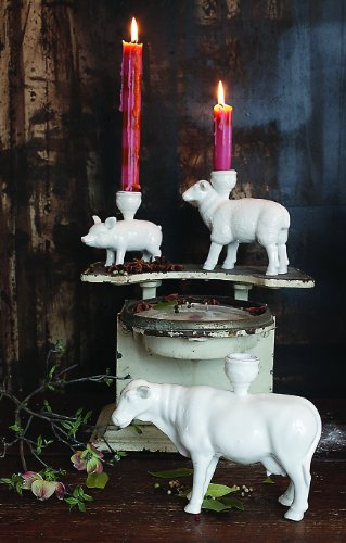 Creative Co-Op Ceramic Sheep Taper Candleholder