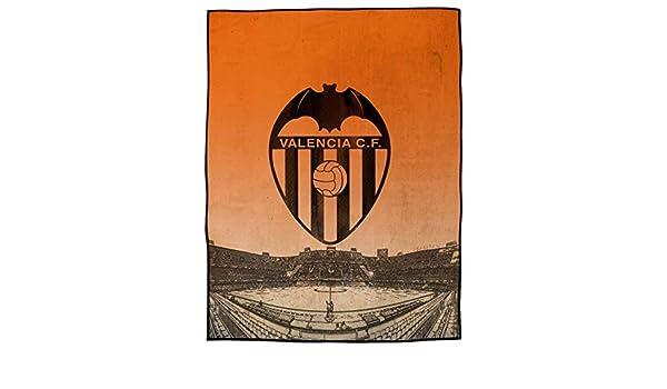 Asditex Manta Rachel Valencia C.F. 130x170 - Manta de Viaje - Estampado con el Escudo del Valencia y mestalla Sobre Fondo Naranja.: Amazon.es: Hogar