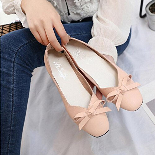 Jamicy Women Sweet Bowknot Design Fish Mouth Shallow Low Heel Office Casual Shoes Pink HTSwhLeHYE