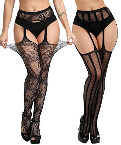 - Buitifo Womens Fishnet Tights Suspender Pantyhose Thigh-High Stockings Black (Black 206)
