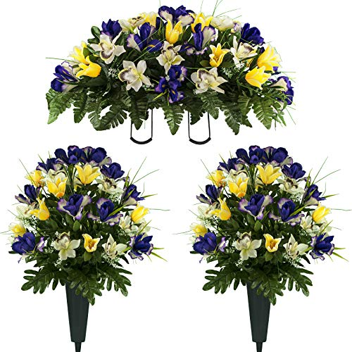 Sympathy Silks Artificial Cemetery Flowers - Realistic Vibrant Tulips, Outdoor Grave Decorations - Non-Bleed Colors, and Easy Fit - Two Yellow Purple Tulip Bouquets and One Yellow Purple Tulip Saddle
