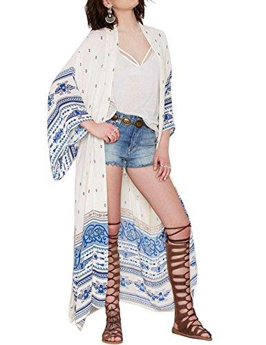 shermie Women#039s Long Print Chiffon Kimono Kaftan Swimwear Beach Cover Up Cardigan One Size Printed 3