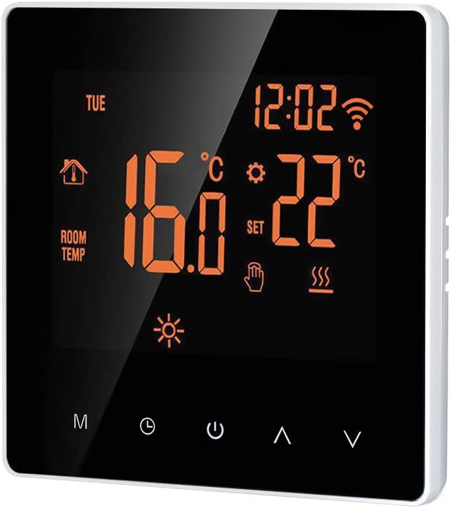 Blusea Wi-Fi Smart Thermostat, Digital Temperature Controller APP Control LCD Display Touch Screen Week Programmable Electric Floor Heating Thermostat for Home School Office Hotel 16A