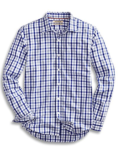 Goodthreads Men's Slim-Fit Long-Sleeve Gingham Plaid Poplin Shirt, Blue/Grey, XX-Large