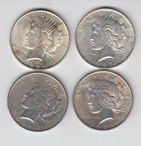 1922 , 1923, 1924, and 1925 Peace Siflver Dollars -(4) Coins Total About Uncirculated Details