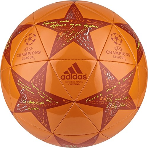 adidas Performance Champions League Finale Capitano Soccer Ball, Unity Orange/Craft Chili Red/Shock Slime, Size 5