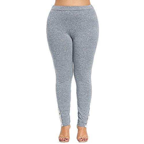 (Women Plus Size Lace Applique Elastic High Waisted Leggings Yoga Sport Pants Hotkey High Waist for Women Gray)