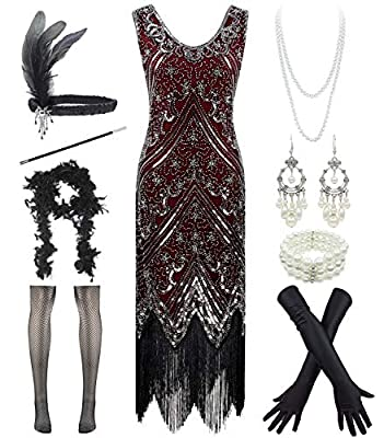 1920s Sequin Mermaid Formal Long Flapper Gown Party Evening Dress with 20s Accessories Set