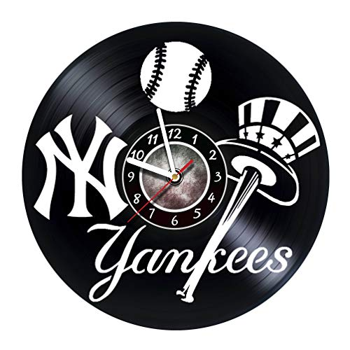 Iskra Shop New-York Yankees - Vinyl Wall Clock - Get Unique Gifts Presents for Birthday, Christmas, Ideas for Boys, Girls, Men, Women, Adults, him and her - Sport Unique Art Design