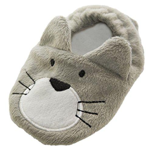 Babyschuhe Krabbelschuhe Fleece Katze grau 0 - 6 Monate