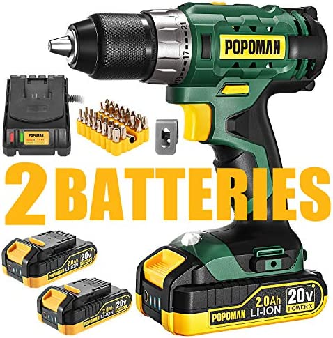 Cordless Drill Driver Kit, 20V Max Drill 2x2000mAh Li-ion Batteries, 1 2 All Metal Keyless Chuck, Fast Charger, 398 In-lb Torque, 21 1 Clutch, 2 Speed Transmission, 33pcs Free Accessories