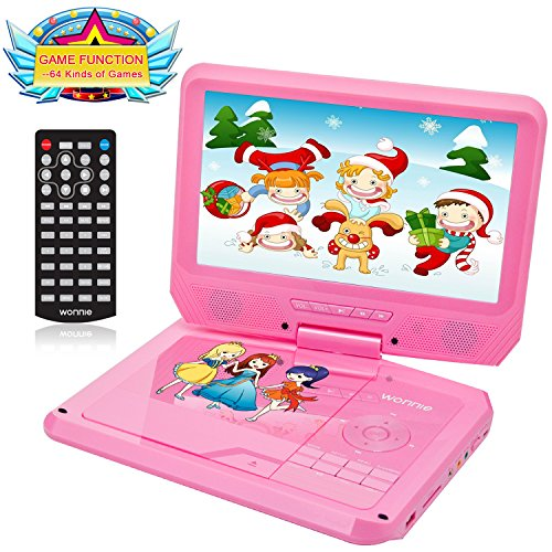 9.5 Inch Portable DVD Player for Car with Games Function for Kids, USB / SD Slot (Pink) (Joysticks Dvd)