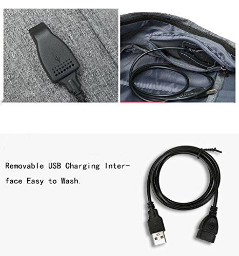 Juuly Mochila resistente al agua mochila de poliéster portátil de 15,6 pulgadas con puerto de carga USB mochila mochila para hombres / mujeres Gris