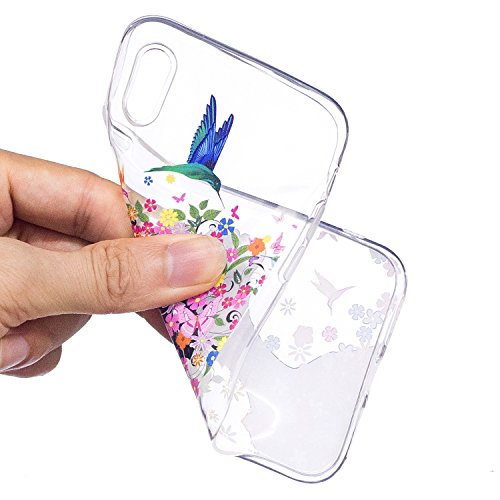 Coque iPhone X Fille de fleur Premium Gel TPU Souple Silicone Transparent Clair Bumper Protection Housse Arrière Étui Pour Apple iPhone X (2017) 5,8 pouces Avec Deux cadeau