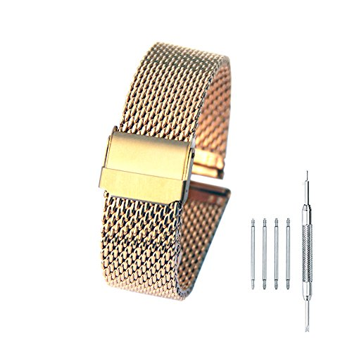 Buckle Bracelet Hook (18mm Stainless Steel Mesh Watch Band Bracelet Strap Replacement Wristband with Double Folding Clasp Hook Buckle Gold)