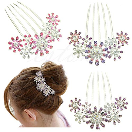 Flower Vogue Hair En - Vogue Women Crystal Rhinestone Petal Tuck Comb Flower Hair Pin Hair Pink