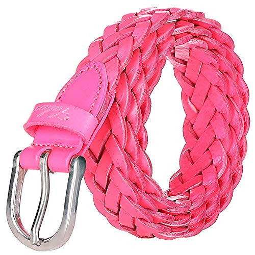 Falari Women's Leather Braided Belt Stainless Steel Buckle 6007 - Hot Pink-XL