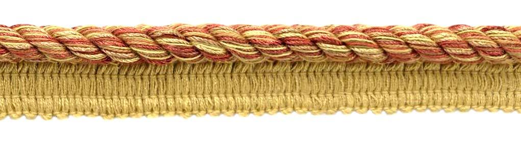 DÉCOPRO 24 Yard Package|Large 3/8 inch Oak Brown, Dark Rust, Artichoke Green, Camel Beige Basic Trim Cord with Sewing Lip|Style# 0038DKL|Color: Ignite - N37 (72 Feet / 21.9 Meters) by DÉCOPRO