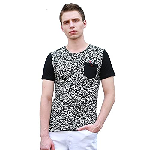 Allegra K Men Floral Prints Chest Pocket Crew Neck Tee Shirt Black S