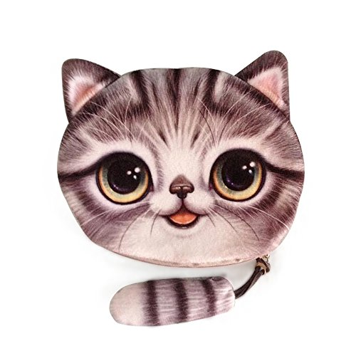 Cai- new coin purses girls wallet 3D printing cute cat with tail animal big face wallets small zipper change bags for women four cute patters Cr11 (Gray) (Make Change Purse)