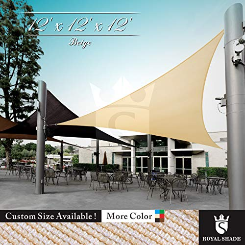 Royal Shade 12 x 12 x 12 Beige Triangle Sun Shade Sail Canopy, 95 UV Blockage, Heavy Duty 200GSM, Custom Made Size