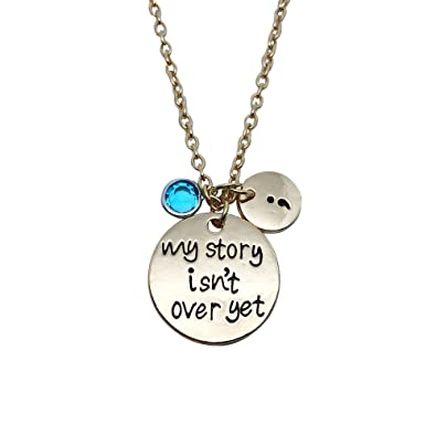 Amazon.com: My Story isn\'t Over Yet Crystal Pendant Necklace ...