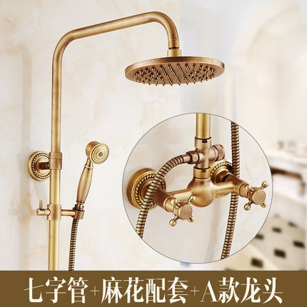 A GFEI European style antique shower   full copper hot and cold faucet set   Retro shower, bright toilet, bathroom, shower, constant temperature shower,A