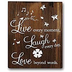 Family Inspirational Motivational Quotes Wood Wall Art Rustic Farmhouse Décor, Live Every Moment, Laugh Every Day, Love Beyond Words