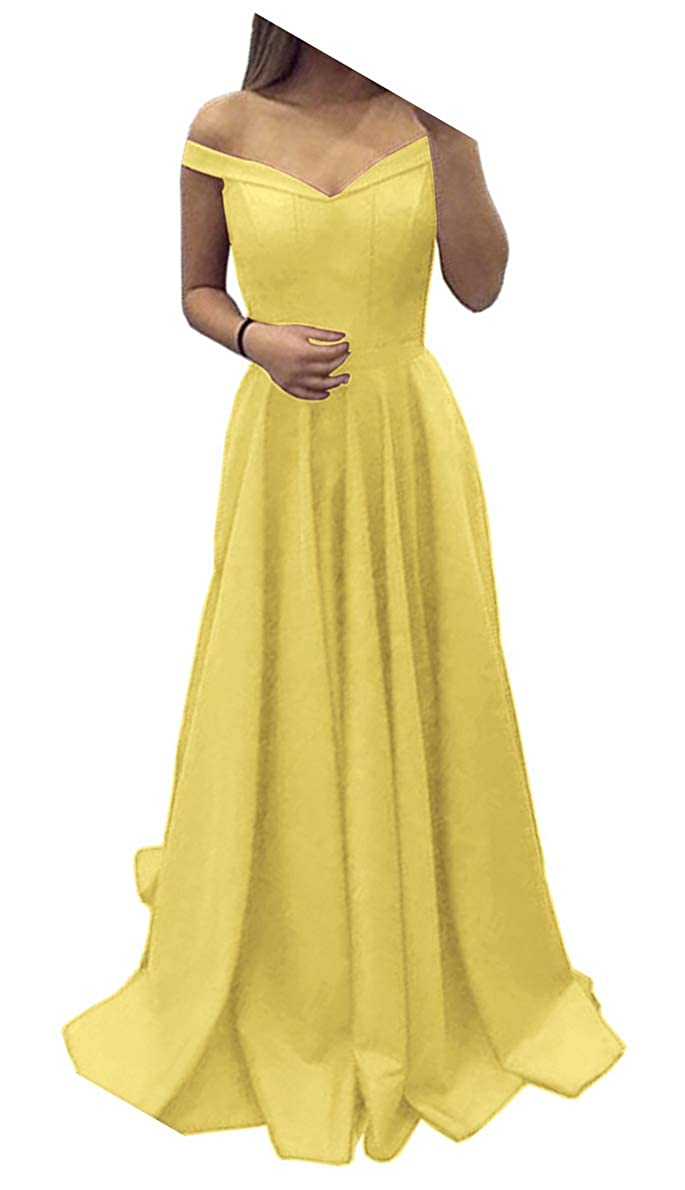 Yellow Dressylady Off The Shoulder A Line Long Prom Homecoming Dress Evening Gowns