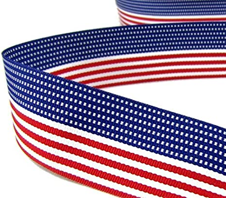 "5 Yards Patriotic USA 4th of July American Flag Grosgrain Ribbon 1.5/""W"