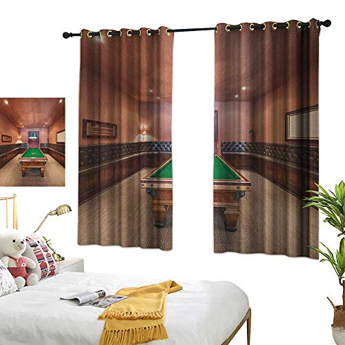 LsWOW Bedroom Curtains W63 x L72 Modern,Entertainment Room in Mansion Pool Table Billiard Lifestyle Photo Print, Cinnamon Brown Green Thermal Insulated Blackout Curtains -