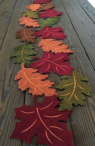 Autumn Colors Harvest Fall Leaves Felt Table Runner - 62