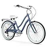 sixthreezero EVRYjourney Women's 26-Inch 7-Speed Step-Through Hybrid Cruiser Bicycle, Navy with White Seat and Grips