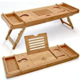 unique ideas for bathroom storage Elite Creations Bathtub Caddy & Laptop Bed Desk – 2 In 1 Innovative Design Transforms Our 100% Extra Large Bamboo Bathtub Tray To Bed Tray (10