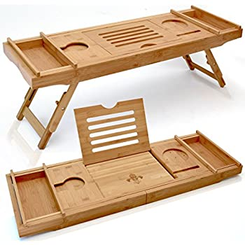 Amazon.com: HANKEY Bamboo Bathtub Caddy Tray (Extendable) Luxury Spa ...