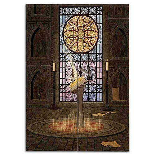 oobon Door Curtain(Two Panels) Customizable,Gothic,Lectern on Pentagram Symbol Medieval Architecture Candlelight in Dark Spell Altar,Olive Green Mustard,Multi-Function,W27.6 xH47.2