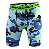 AKENA Men's Compression Baselayer Shorts Cool Dry Pants Sports Short Capri Tights