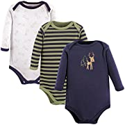 Luvable Friends Baby Long Sleeve Bodysuit 3 Pack, Deer, 6-9 Months