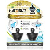 StopShroom Tub 2 Pack Universal Stopper for Bathtub and Bathroom Sink Drains, Black Plug 2pk