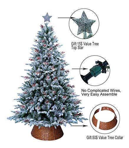ABUSA Prelit Frosted Christmas Tree 9ft Pre-lit Electric Tube 900LED Lights Flocked Snowy Everest Pine with Tree Top Star Tree Collar Gifted Berries and Pine Cones(New) (Christmas Frosted 9ft Tree)